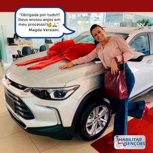"""<p>""""Obrigada por tudo!!!<br /> Deus enviou anjos em meu processo! 🥰🙏🏾"""", Magda Versiani.<br /> Mais um cliente muito satisfeito da HABILITAR ISENÇÕES!<br /> O processo de isenção de impostos foi concluído e a Magdacomprou o seu Chevrolet Track na CVC Chevrolet da Serra!<br /> E você, PCD? Faça igual a Magda! Entre em contato com a HABILITAR ISENÇÕES!</p>"""