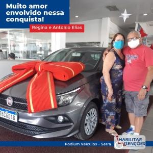 <p>O processo de isenção de impostos foi concluído e o casal Regina e Antônio Elias está super feliz com o seu Fiat Cronos 0km comprado na Podium Veículos da Serra! 🚙<br /> ⠀<br /> E você, PCD? Faça igual o casal Regina e o Antônio Elias!<br /> ⠀<br /> Entre em contato com a HABILITAR ISENÇÕES!</p>