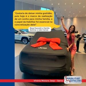 <p>A HABILITAR ISENÇÕES fez mais um cliente feliz! 😍 ⠀O processo de isenção de impostos foi concluído e a Musa Favoretti,ao lado de sua família (Solimar e José Carlos) compraram o seu Jeep Renegade na Vitória Motors Jeep da Serra 🚙</p>