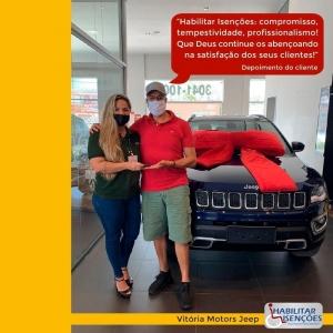 <p>A Paolla Loubak,vendedora na Vitoria Motors Jeep, realizou a venda de um Jeep Compass graças à isenção de impostos obtida pela HABILITAR ISENÇÕES!<br /> ⠀<br /> Neste caso, todo mundo feliz: a Paolla, o cliente e a HABILITAR!<br /> ⠀<br /> E você, PCD? Que tal comprar o seu carro zero km com isenção de impostos? Quer saber como? Procure a Habilitar Isenções! Conte com a gente! 🤝</p>